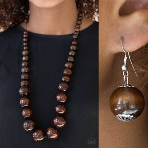❤️Brown Jumbo Bead Necklace Set